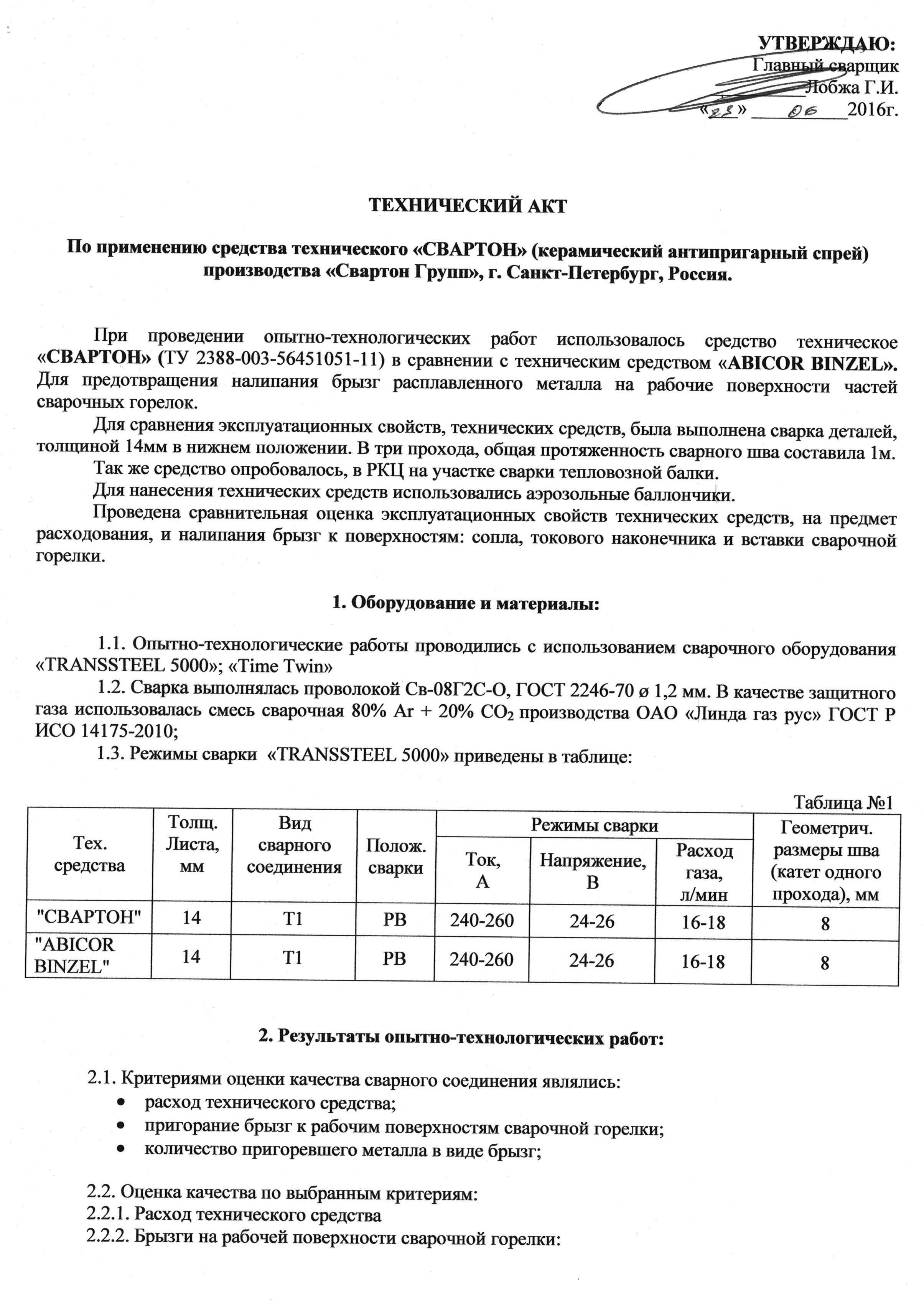 Отзыв БМЗ о сварочной химии Свртон